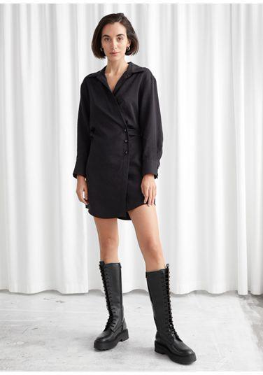 &OS image PRA default 3 of  in 에이시메트릭 미니 셔츠 드레스