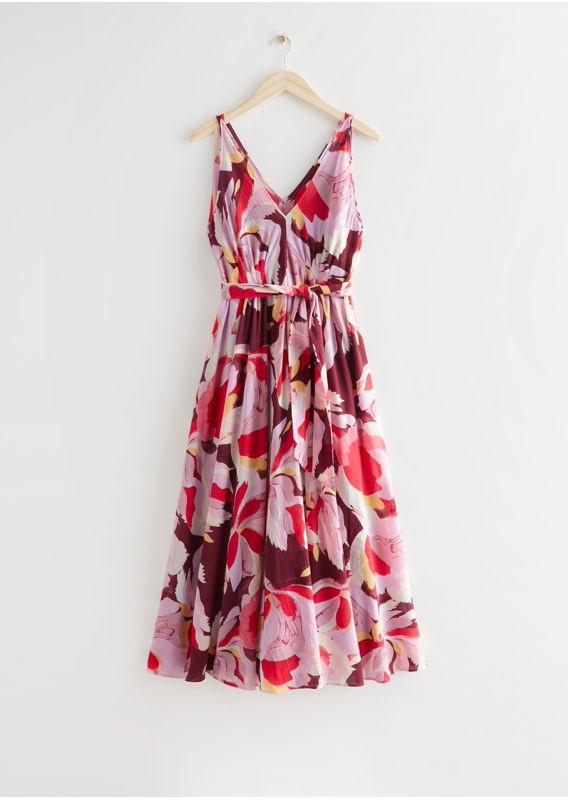 &OS image 2 of 레드 플로럴 in 벨티드 플로럴 프린트 미디 드레스