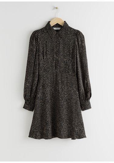 &OS image Style With default 0 of 블랙 프린트 in 미니 셔츠 드레스