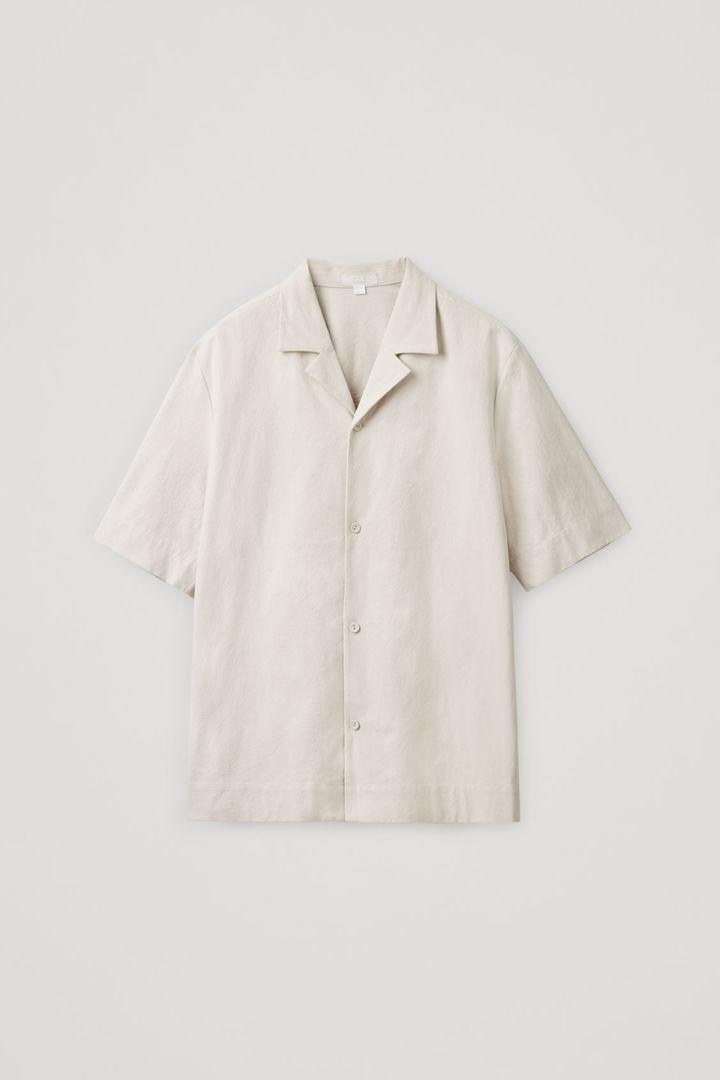COS 쇼트 슬리브 코튼 셔츠의 베이지컬러 Product입니다.