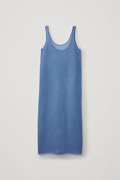 COS default image 4 of 블루 in 니티드 메쉬 베스트 드레스
