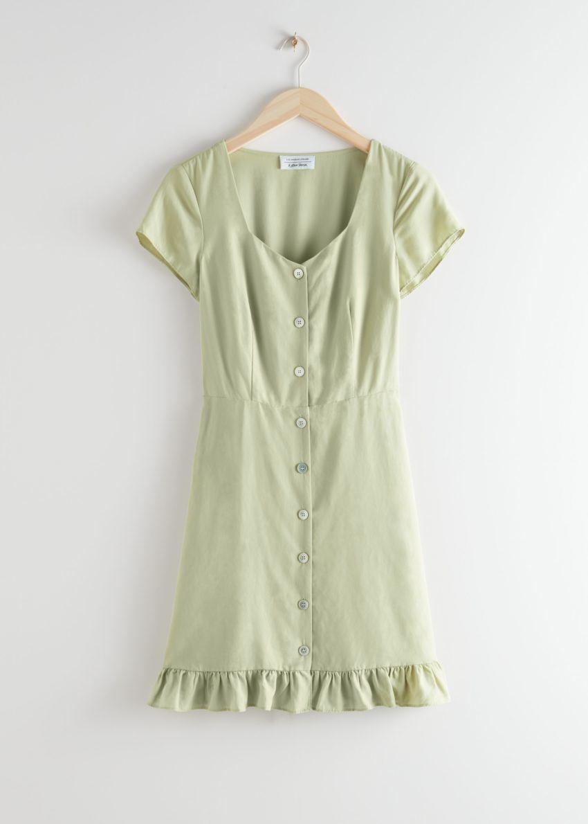 앤아더스토리즈 버튼 업 미니 드레스의 라이트 그린컬러 Product입니다.