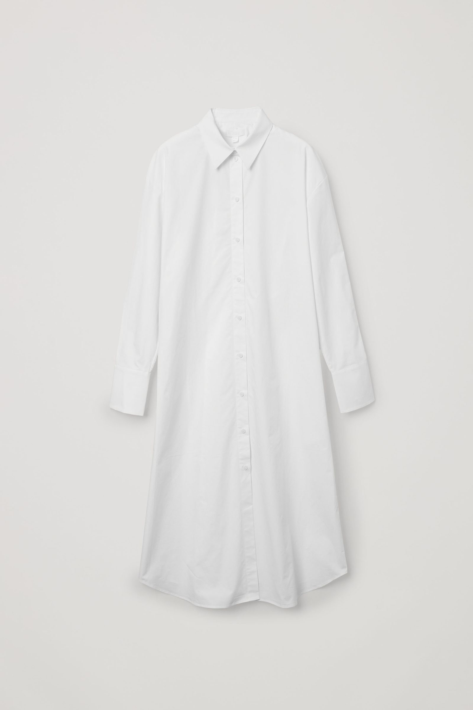 COS 오가닉 코튼 리어 플리츠 셔츠 드레스의 화이트컬러 Product입니다.