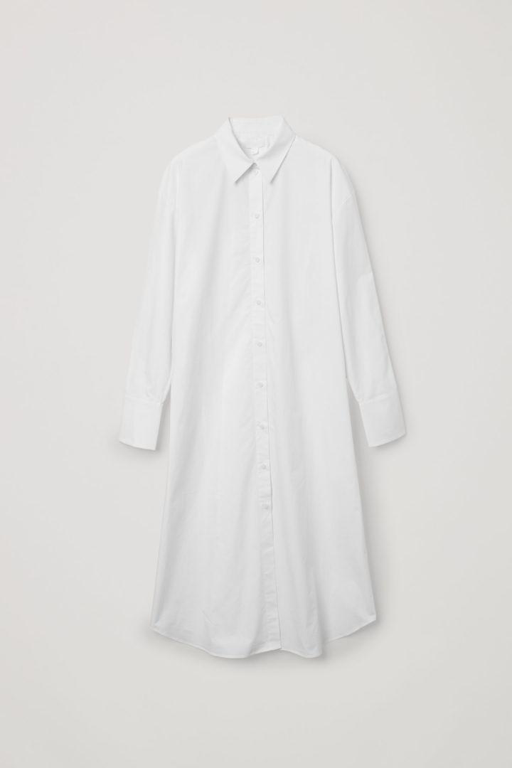 COS hover image 7 of 화이트 in 오가닉 코튼 리어 플리츠 셔츠 드레스