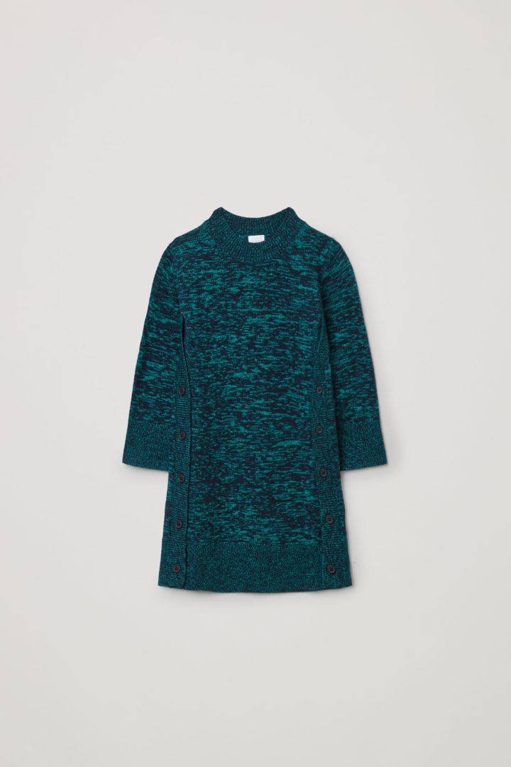 COS 니티드 울 캐시미어 드레스의 네이비 / 그린컬러 Product입니다.
