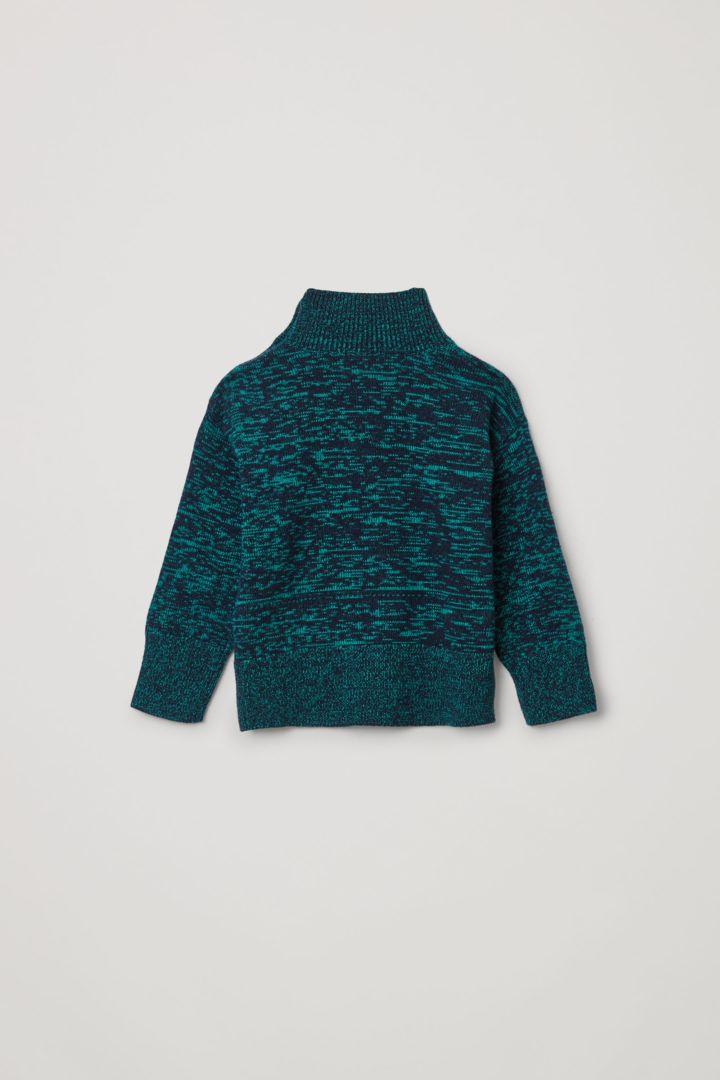 COS 롤넥 울 캐시미어 스웨터의 네이비 / 그린컬러 Product입니다.