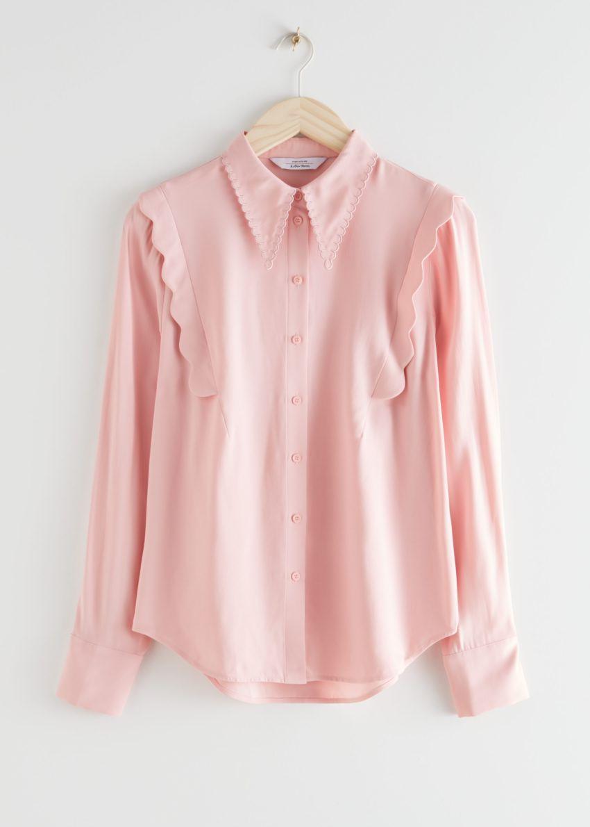앤아더스토리즈 스캘럽 자카드 셔츠의 핑크컬러 Product입니다.