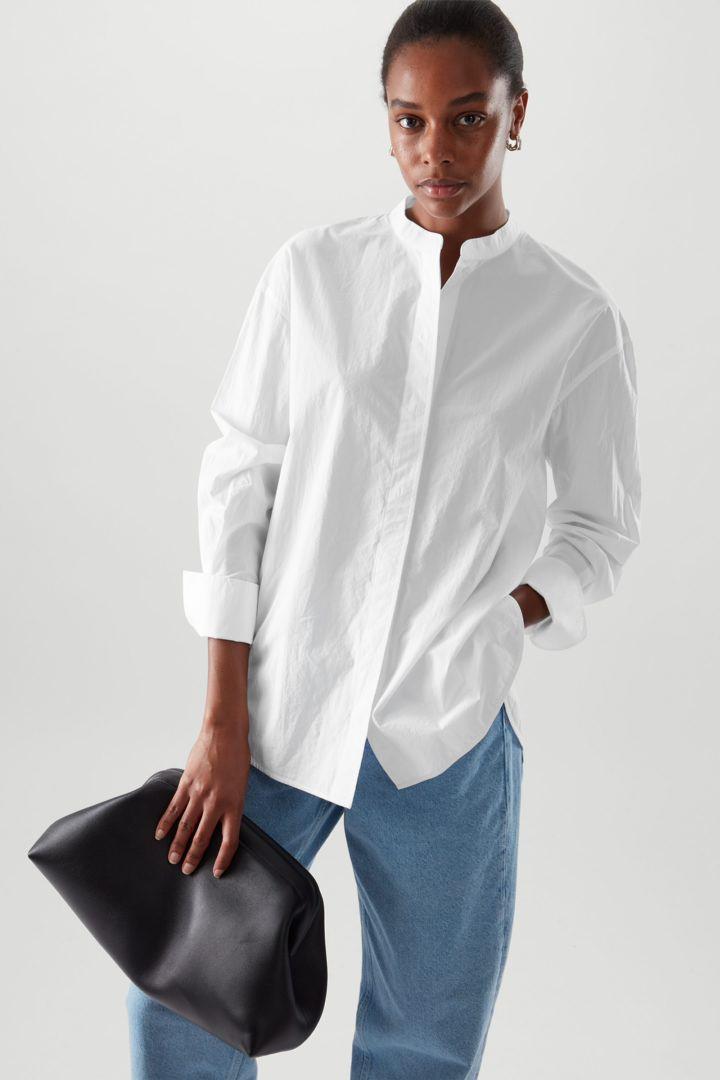 COS default image 4 of 화이트 in 칼라리스 셔츠