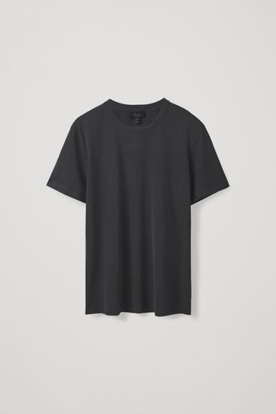 COS default image 4 of 블랙 in 브러쉬드 코튼 티셔츠