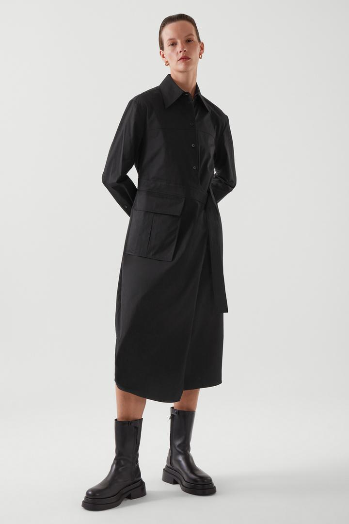 COS default image 12 of 블랙 in 벨티드 셔츠 드레스