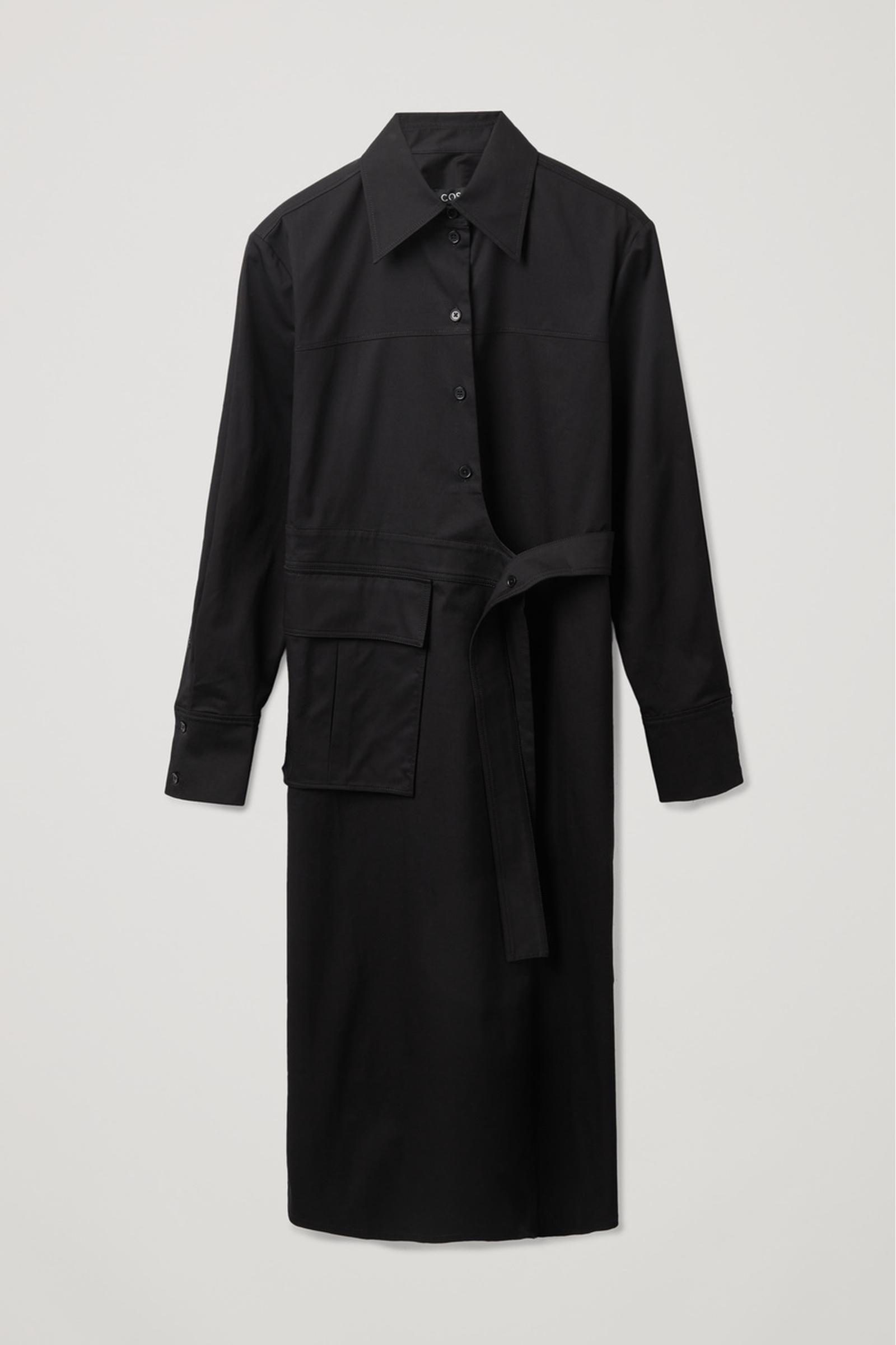 COS 벨티드 셔츠 드레스의 블랙컬러 Product입니다.