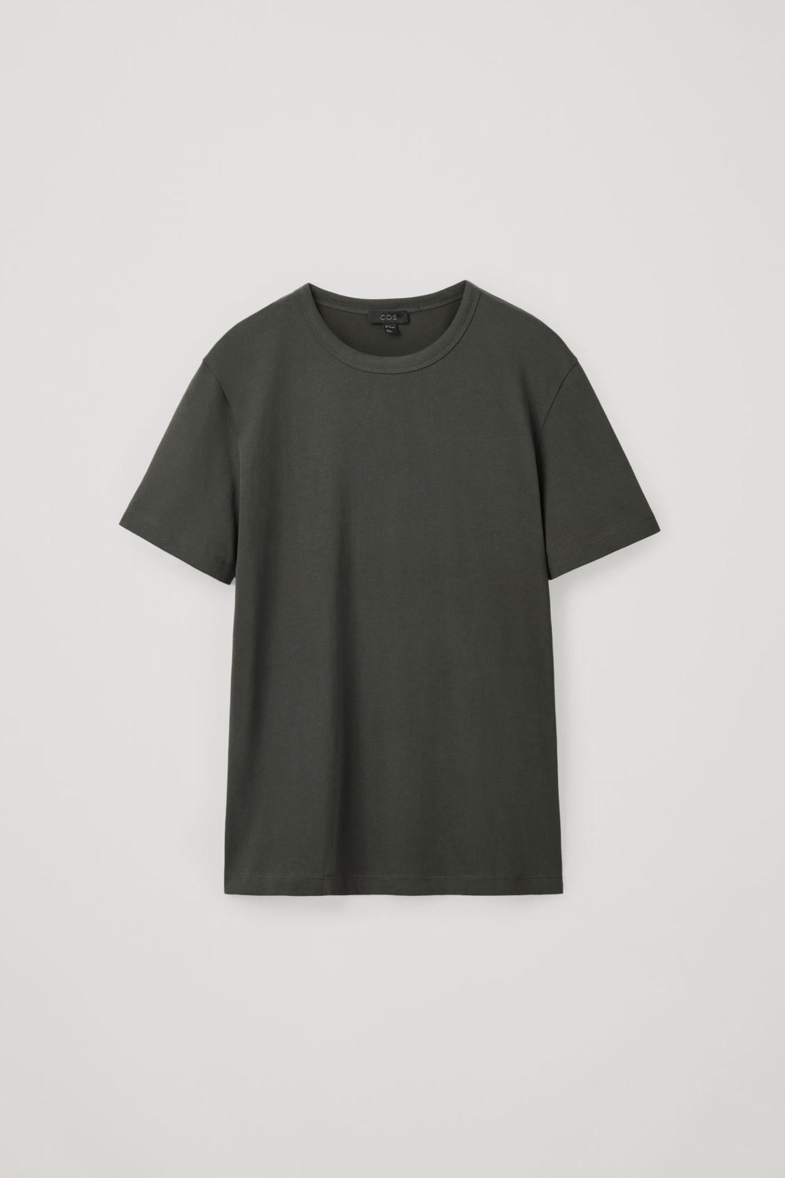 COS 브러쉬드 코튼 티셔츠의 차콜컬러 Product입니다.