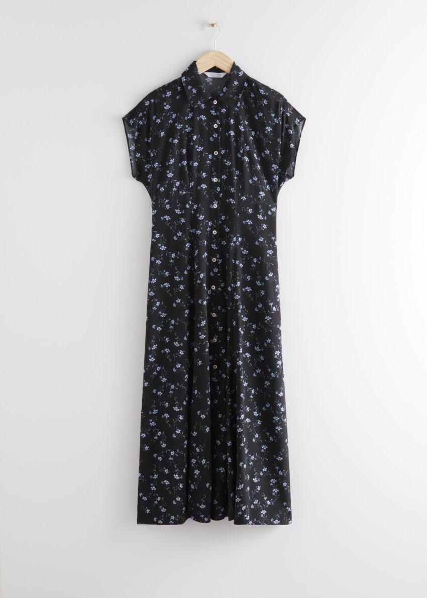 앤아더스토리즈 릴렉스드 미디 셔츠 드레스의 블랙 플로럴컬러 Product입니다.