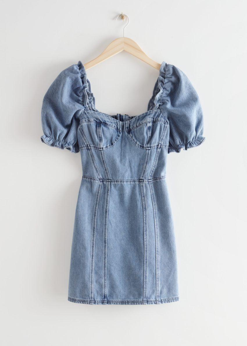 앤아더스토리즈 퍼프 슬리브 데님 미니 드레스의 애시드 블루컬러 Product입니다.