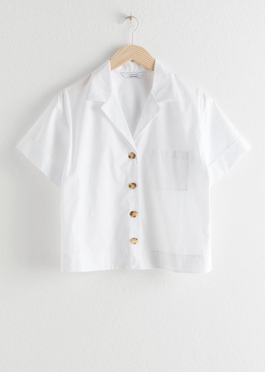 앤아더스토리즈 코튼 버튼 업 셔츠의 화이트컬러 Product입니다.