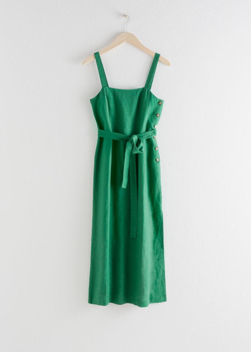 앤아더스토리즈 벨티드 리넨 미디 드레스의 그린컬러 Product입니다.