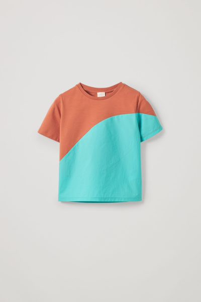 COS default image 3 of 오렌지 in 컬러 블록 오가닉 코튼 티셔츠