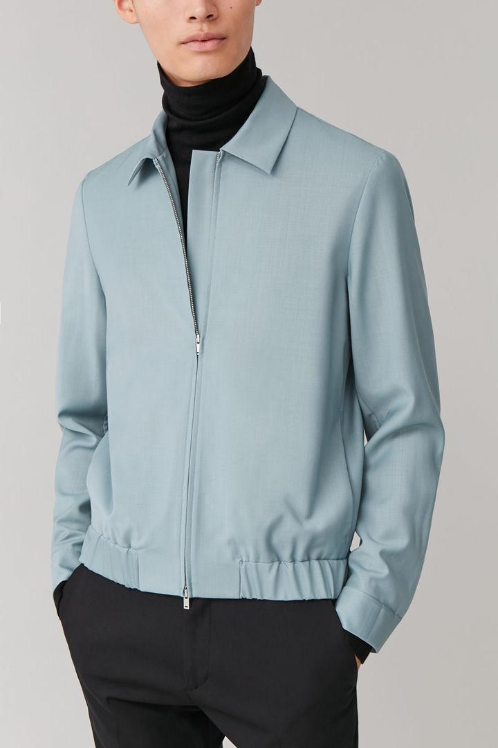 COS 집업 울 재킷의 터쿼이즈컬러 ECOMLook입니다.
