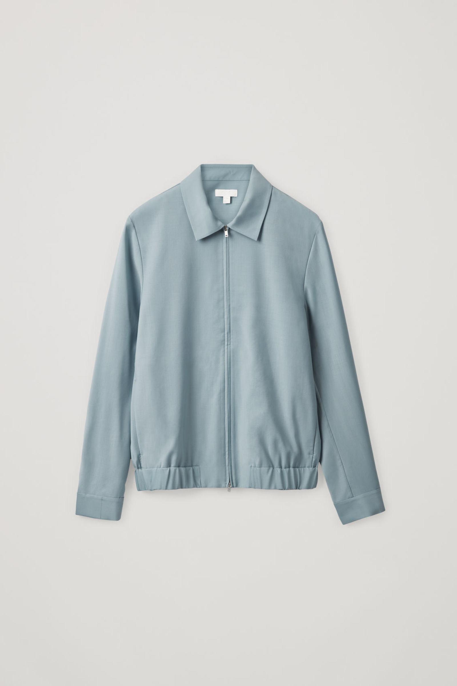 COS 집업 울 재킷의 터쿼이즈컬러 Product입니다.