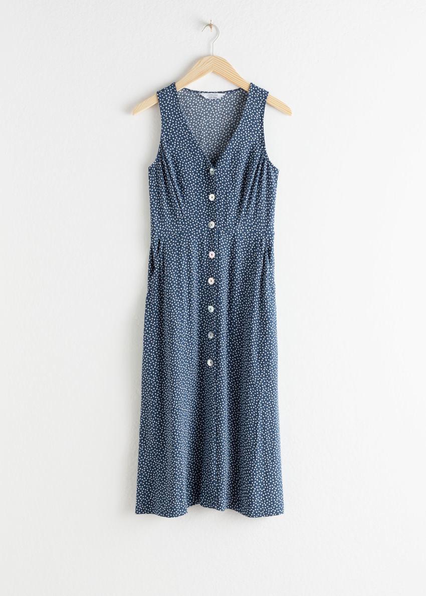 앤아더스토리즈 슬리브리스 버튼 업 미디 드레스의 블루 플로럴컬러 Product입니다.
