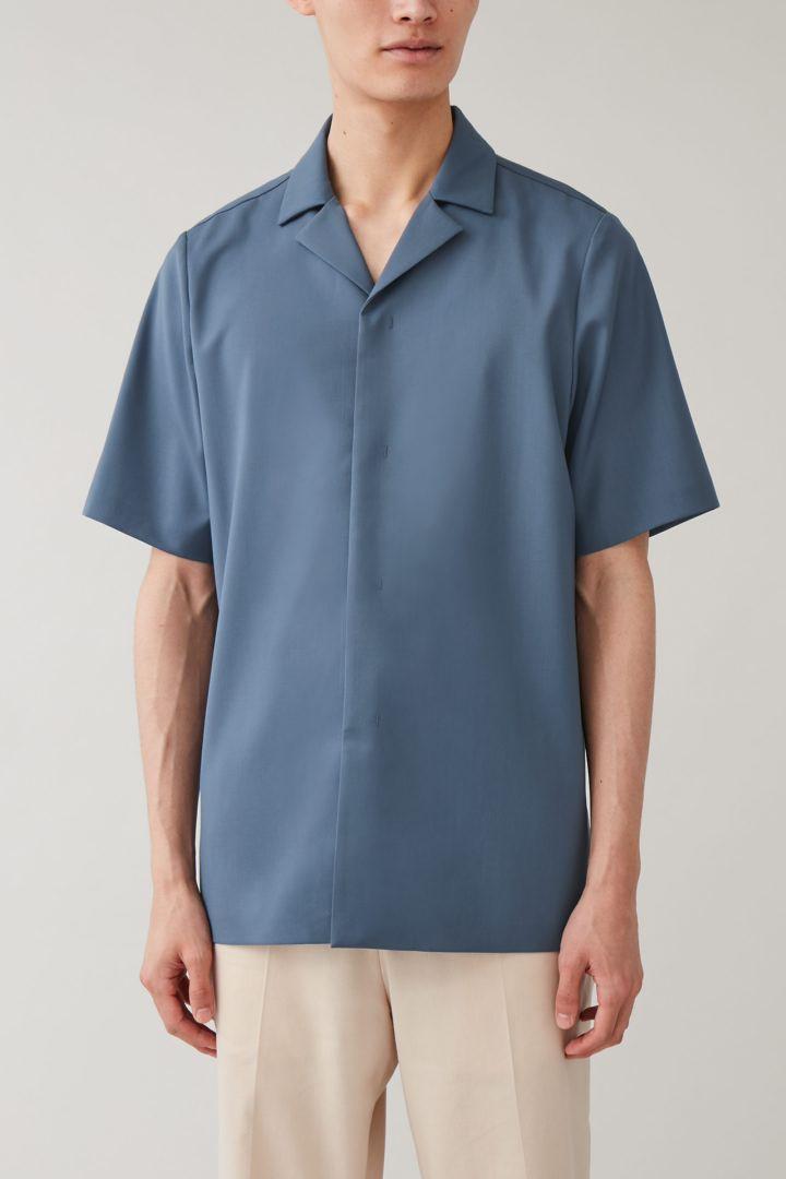 COS default image 12 of 블루 in 캠프 칼라 울 셔츠