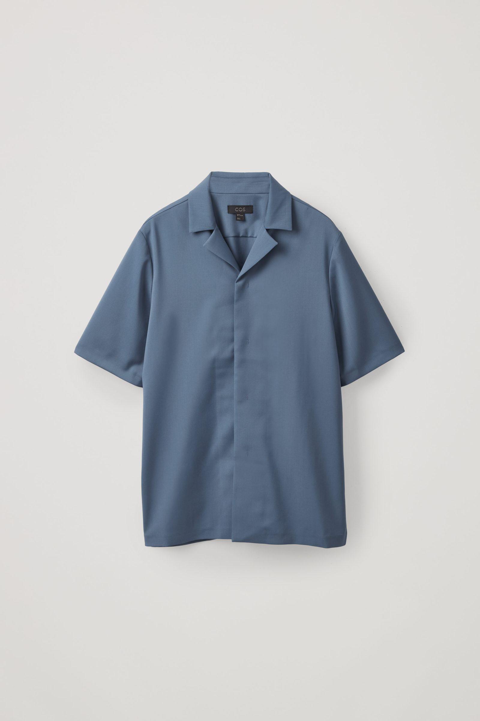 COS 캠프 칼라 울 셔츠의 스틸 블루컬러 Product입니다.