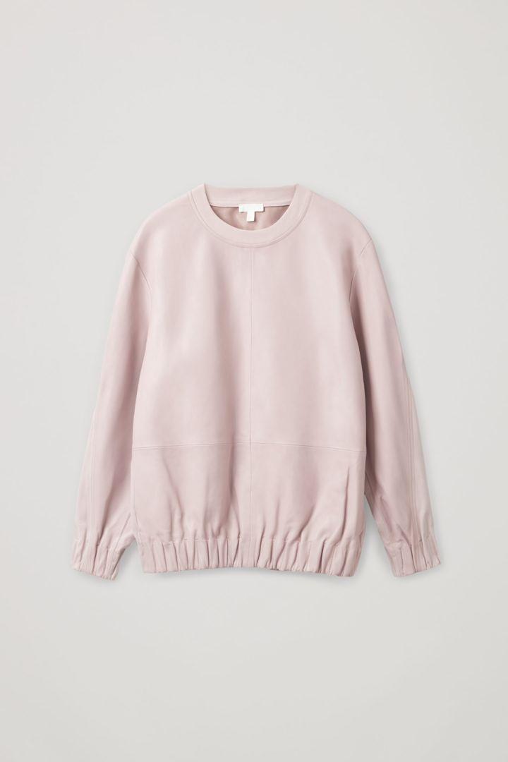COS hover image 6 of 핑크 in 레더 컨트래스트 패널 스웨터