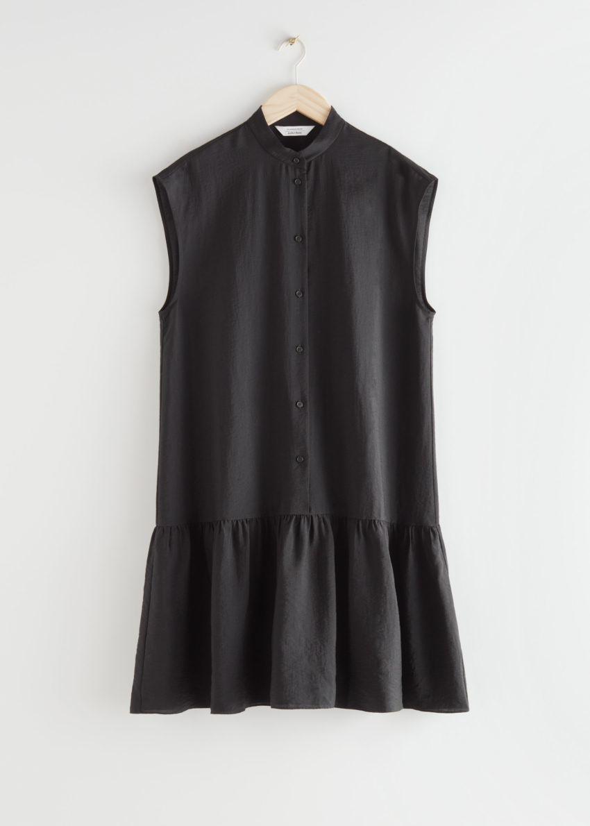 앤아더스토리즈 볼류미너스 버튼 미디 드레스의 블랙컬러 Product입니다.