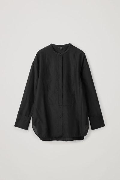 COS hover image 7 of 블랙 in 코튼 멀버리 실크 믹스 튜닉 스타일 셔츠