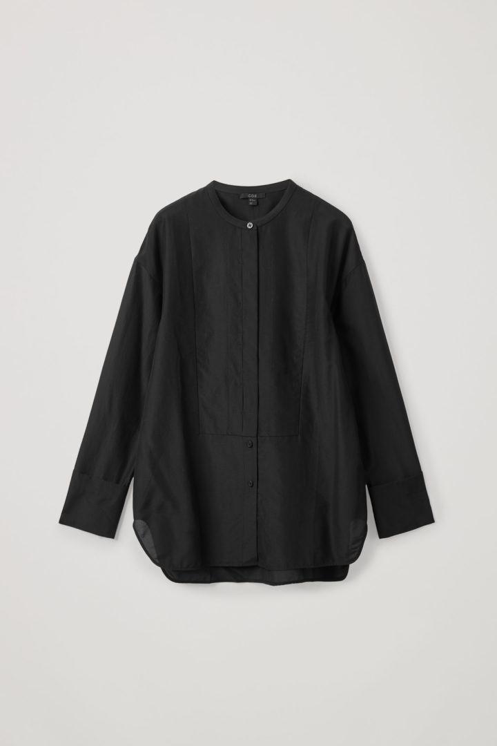 COS hover image 2 of 블랙 in 코튼 멀버리 실크 믹스 튜닉 스타일 셔츠