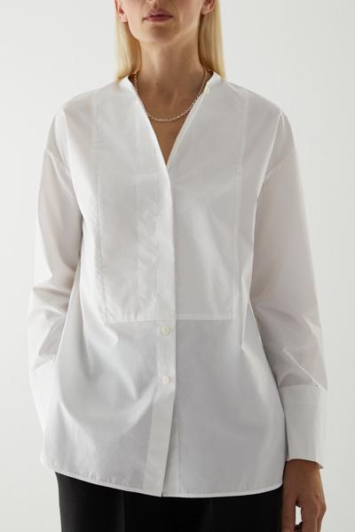 COS hover image 2 of 화이트 in 코튼 빕 인서트 튜닉 스타일 셔츠