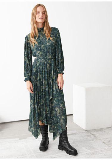 &OS image PRA default 2 of  in 벨티드 플리츠 에이시메트릭 미디 드레스