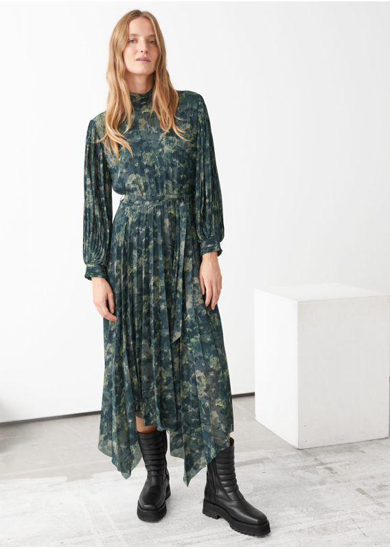 &OS image 5 of  in 벨티드 플리츠 에이시메트릭 미디 드레스