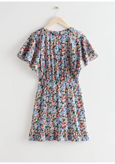 &OS image Style With default 3 of 블루 플로럴 in 배트윙 슬리브 러플 미니 드레스
