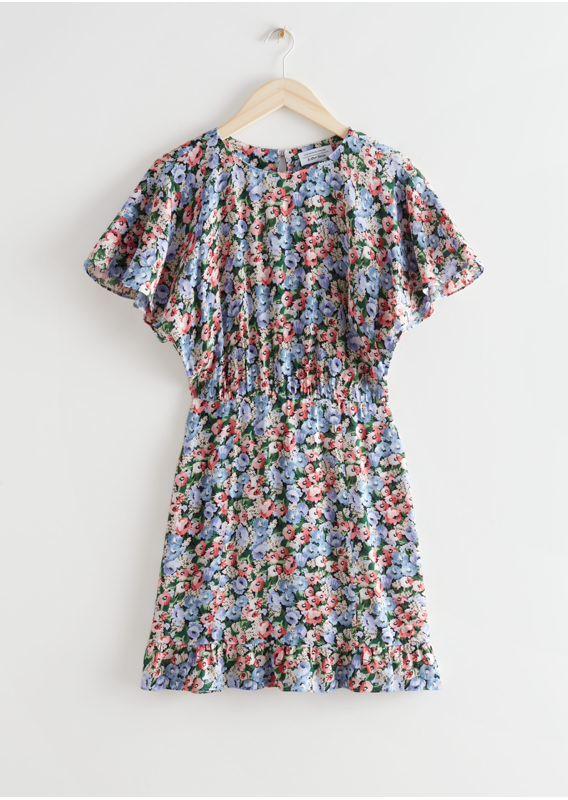 &OS image 1 of 블루 플로럴 in 배트윙 슬리브 러플 미니 드레스