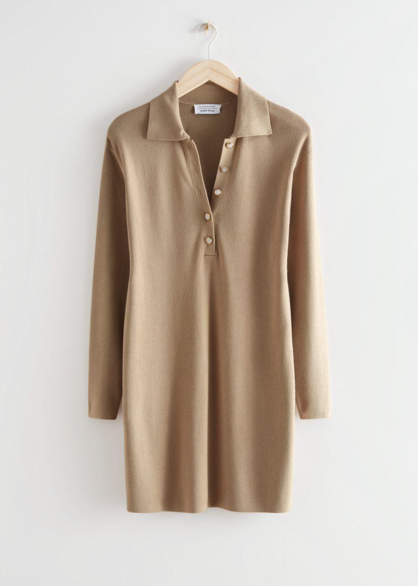 앤아더스토리즈 박시 버튼 카라 미니 드레스의 베이지컬러 Product입니다.