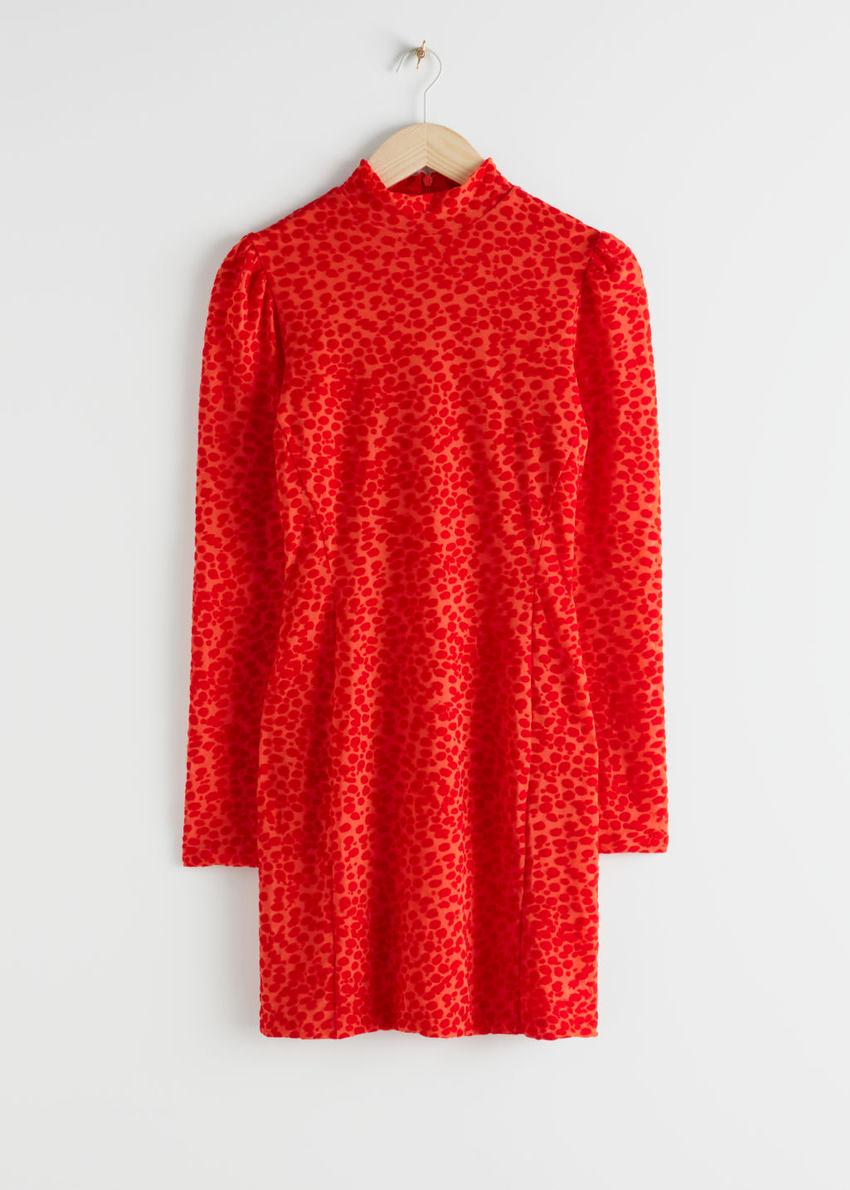 앤아더스토리즈 피티드 퍼프 슬리브 레오파드 미니 드레스의 오렌지컬러 Product입니다.