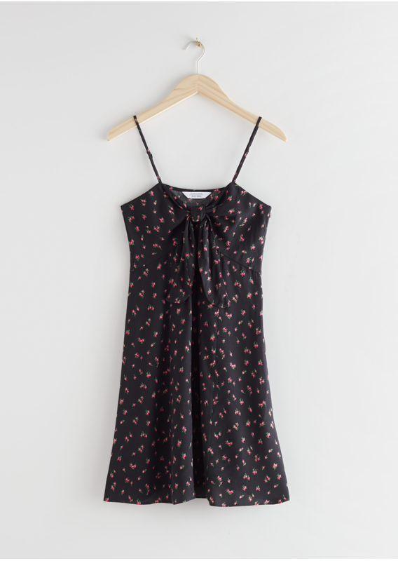 &OS image 3 of 블랙 플로럴 in 프런트 타이 미니 드레스