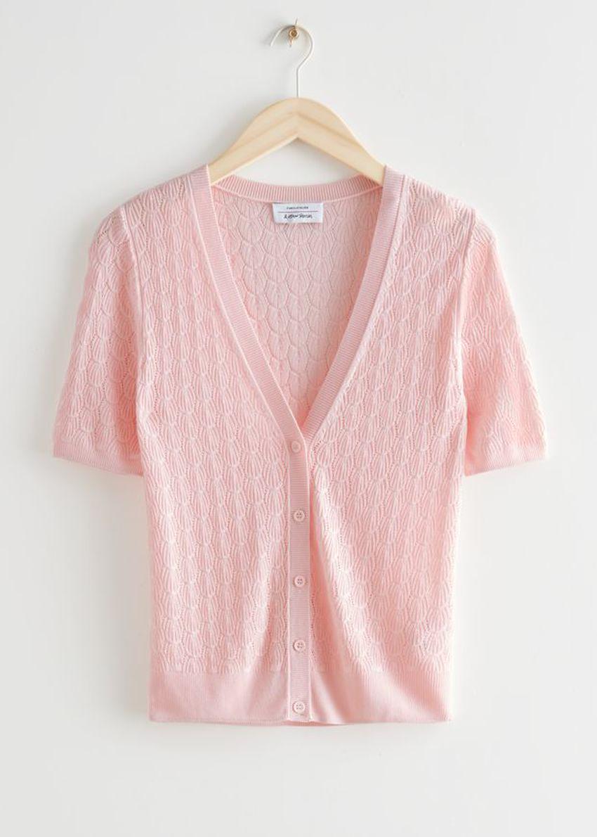 앤아더스토리즈 포인텔 니트 가디건의 라이트 핑크컬러 Product입니다.