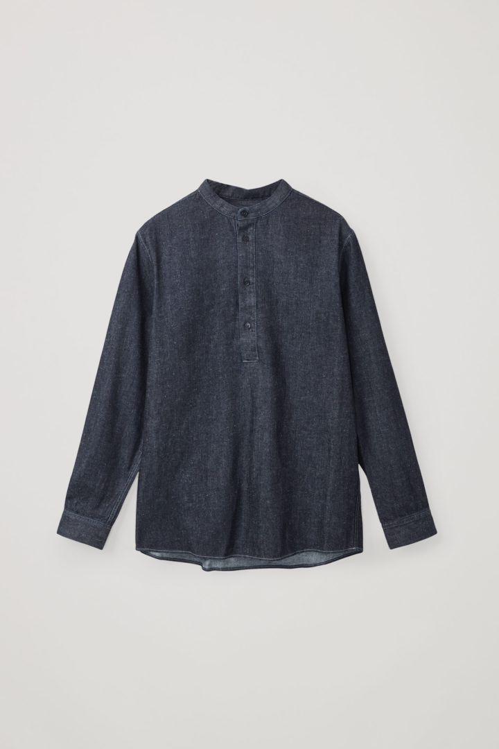 COS 캠프 칼라 오가닉 헴프 오버셔츠의 블루컬러 Product입니다.