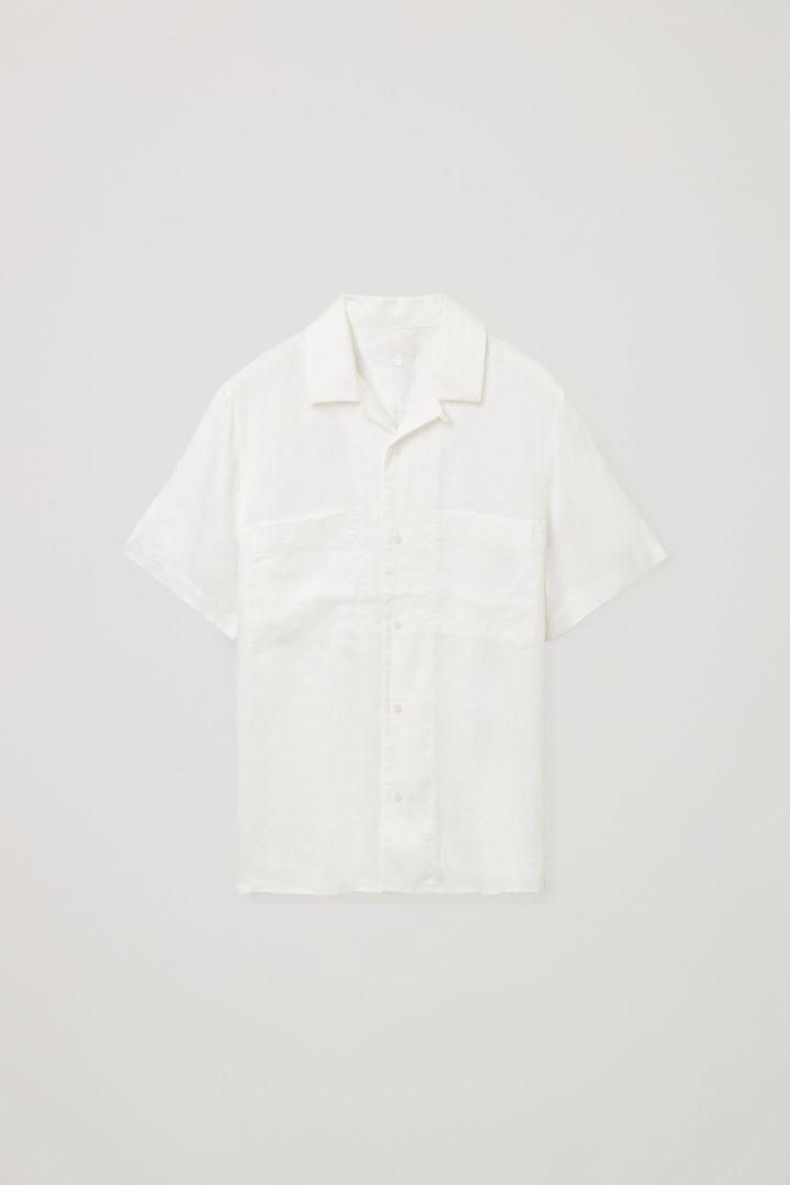 COS hover image 4 of 화이트 in 캠프 칼라 쇼트 슬리브 셔츠