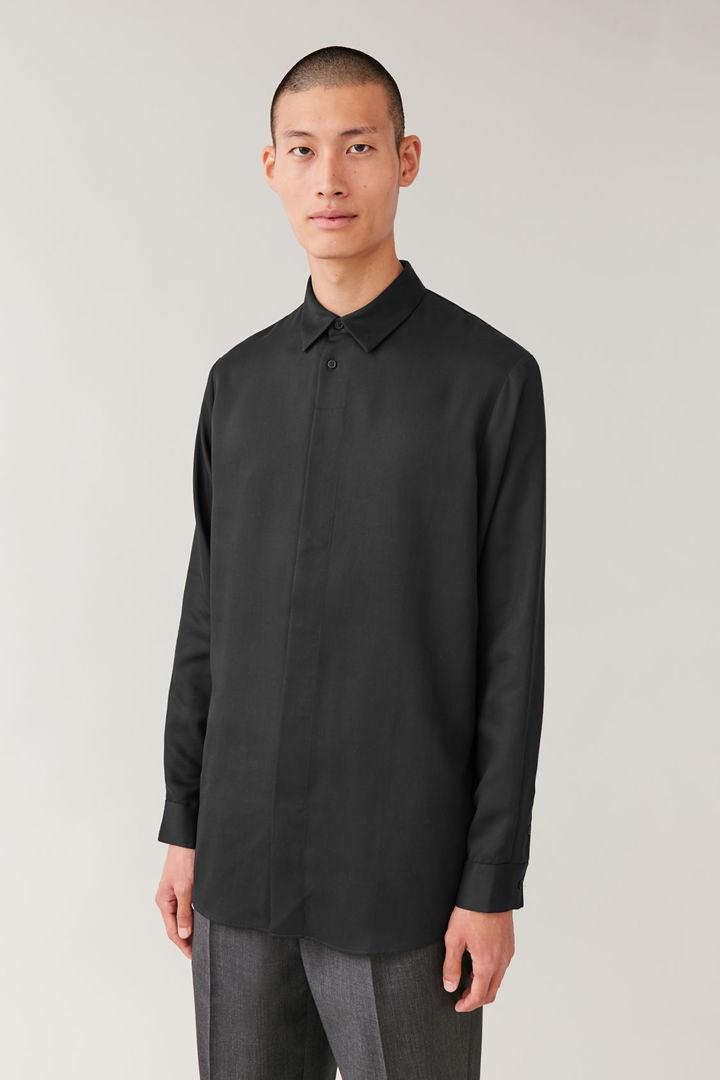COS default image 5 of 블랙 in 히든 버튼 롱 슬리브 셔츠
