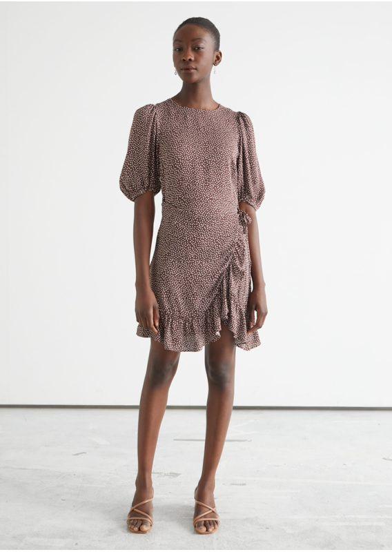 &OS image 12 of  in 러플 퍼프 슬리브 미니 드레스