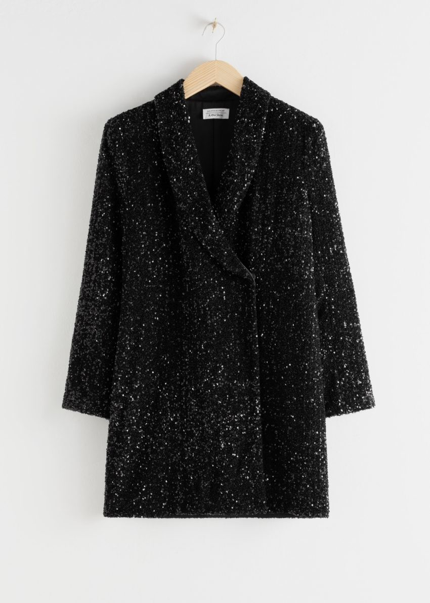 앤아더스토리즈 시퀸 더블 브레스트 블레이저 드레스의 블랙컬러 Product입니다.