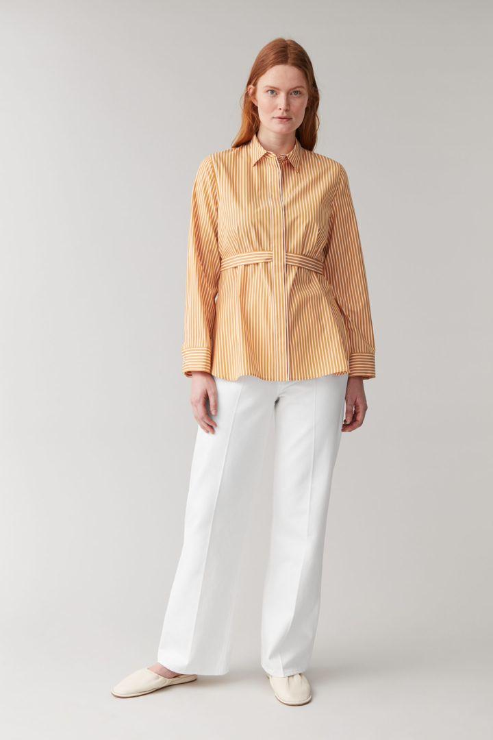 COS default image 5 of 옐로우 in 스트라이프 코튼 셔츠
