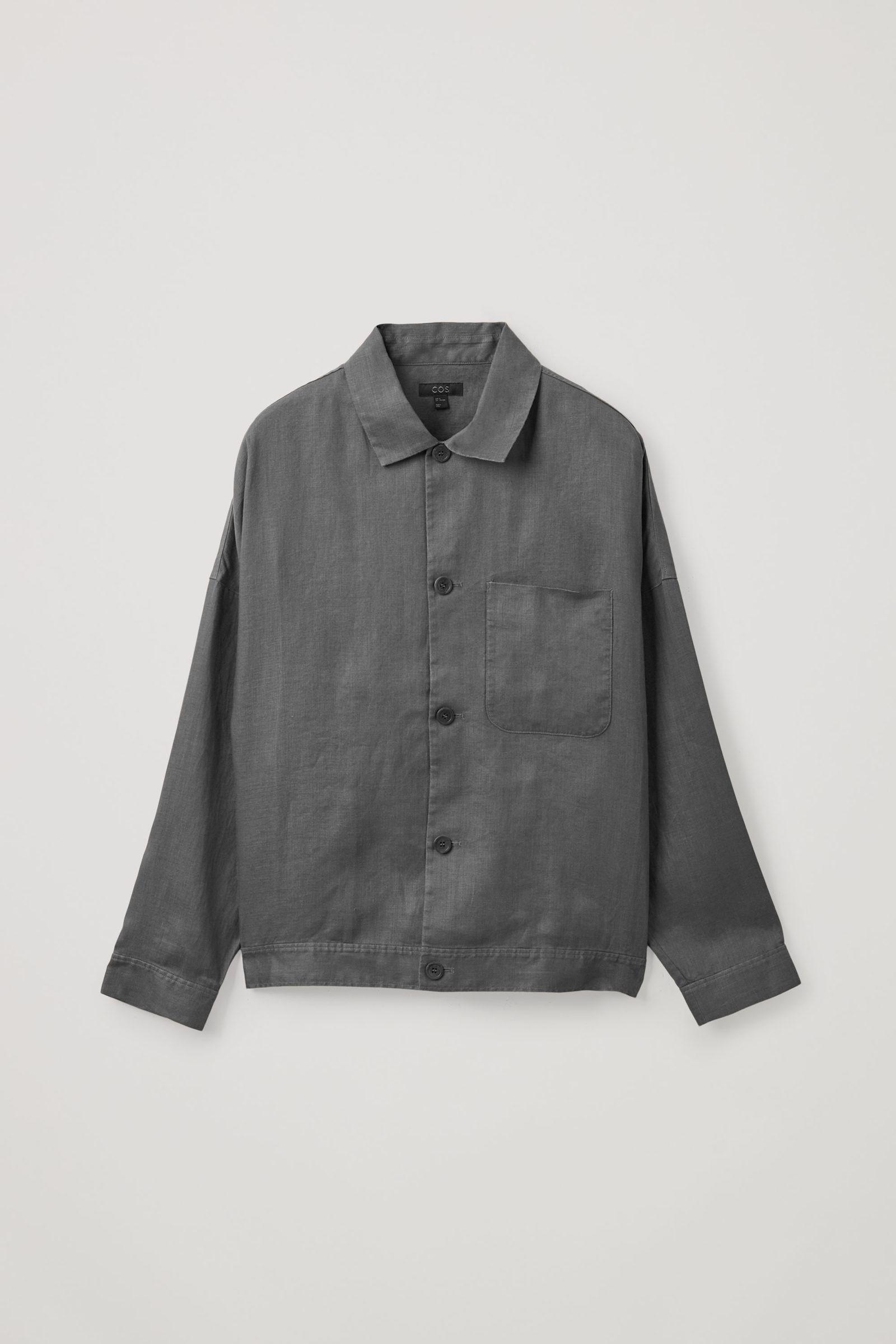 COS 헴프 워크웨어 스타일 재킷의 다크 그레이컬러 Product입니다.