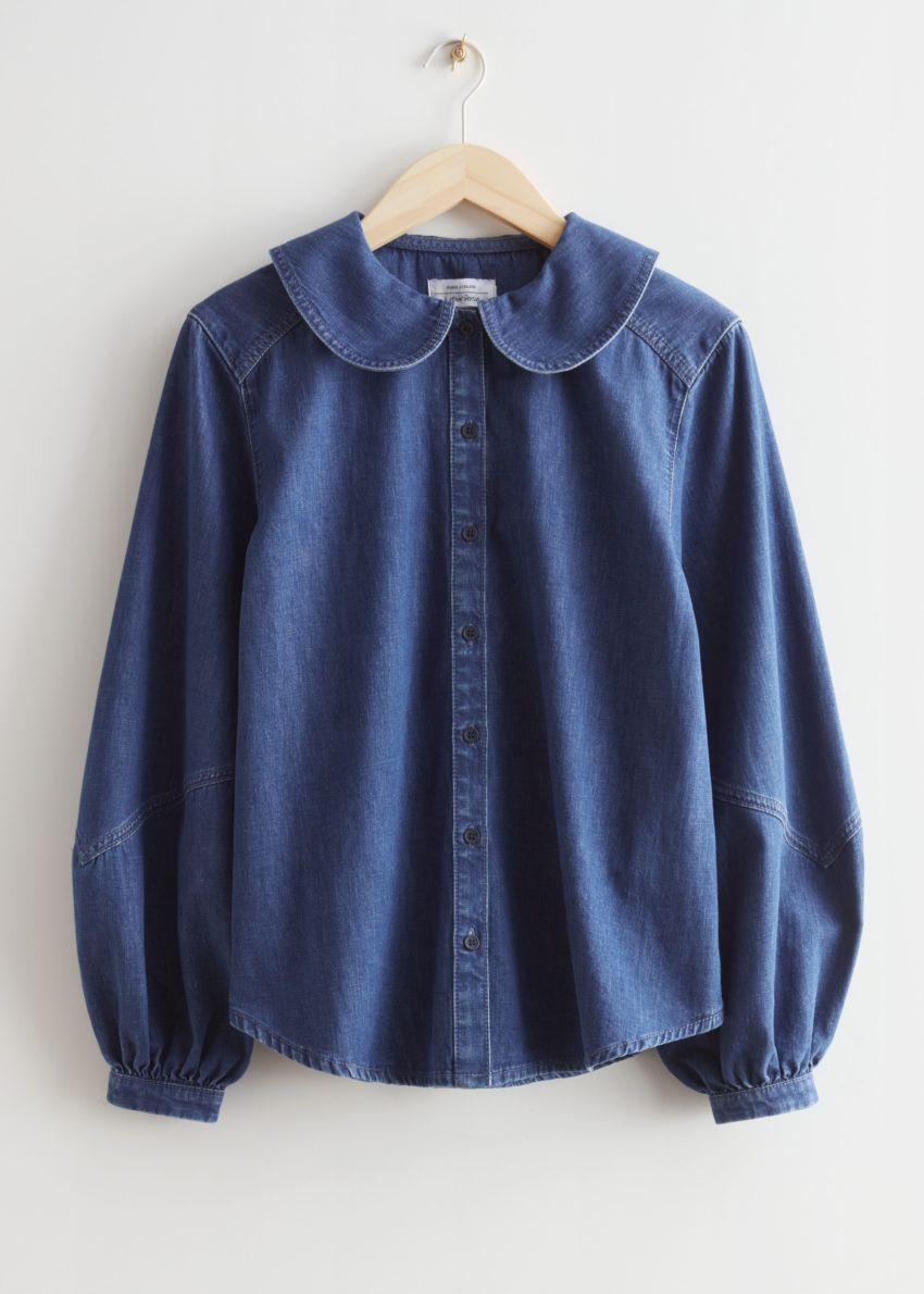 앤아더스토리즈 피터 팬 카라 셔츠의 블루 데님컬러 Product입니다.