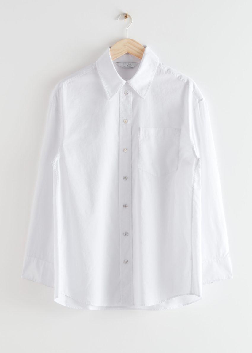 앤아더스토리즈 오버사이즈 볼류미너스 버튼 업 셔츠의 화이트컬러 Product입니다.