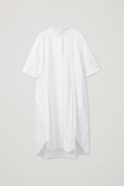 COS default image 3 of 화이트 in 다트 그랜대드 셔츠 드레스