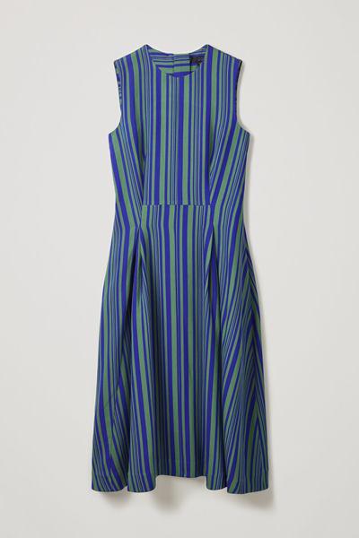 COS default image 10 of 블루 in 스트라이프 슬리브리스 드레스